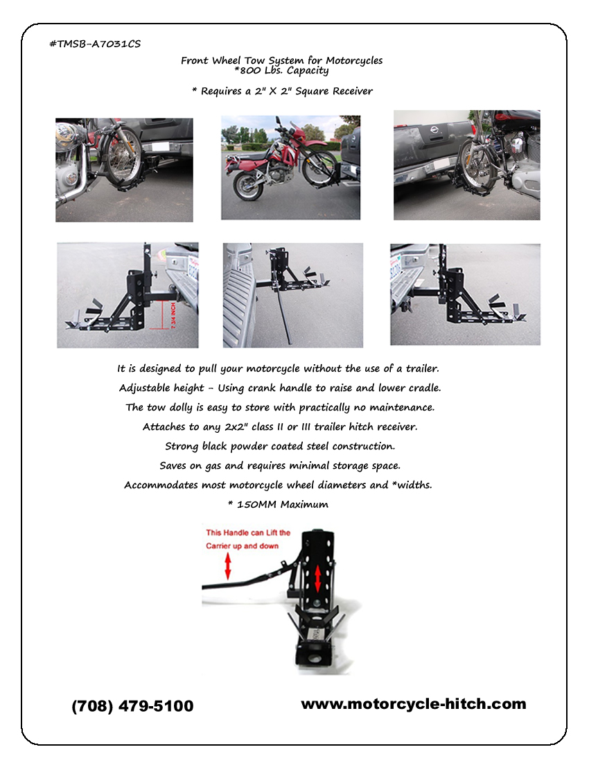 Motorcycle Front Wheel Towing System